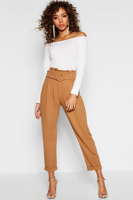 Paperbag Belted High Waist Slim Fit Trousers