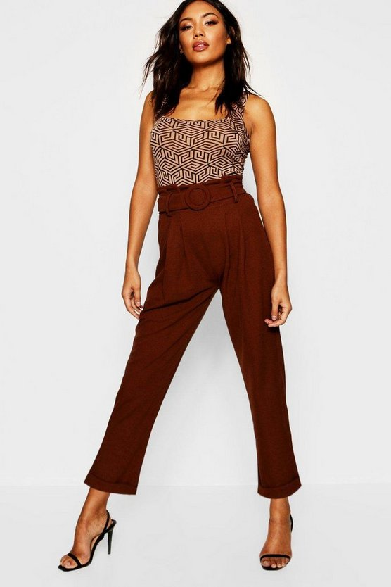 Paperbag Belted High Waist Slim Fit Pants
