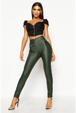 Womens Khaki Zip Front High Waist Leather Look Pants