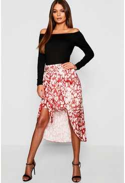 Womens Red Leopard Satin Wrap Midaxi Skirt