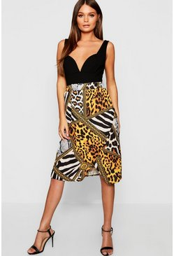 Womens Black Mixed Animal Print Wrap Midi Skirt