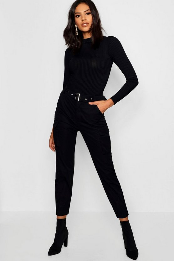 Womens Black Belted Cargo Trouser