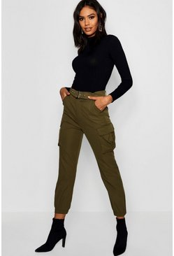 Womens Khaki Belted Cargo Trouser