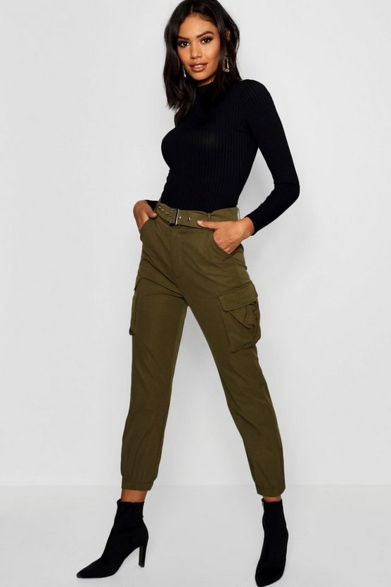 Womens Khaki Belted Cargo Pants