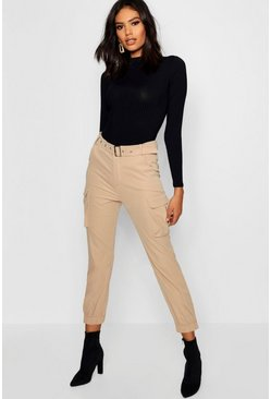 Womens Stone Belted Cargo Trouser