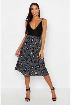 Charcoal Pleated Leopard Print Midi Skirt