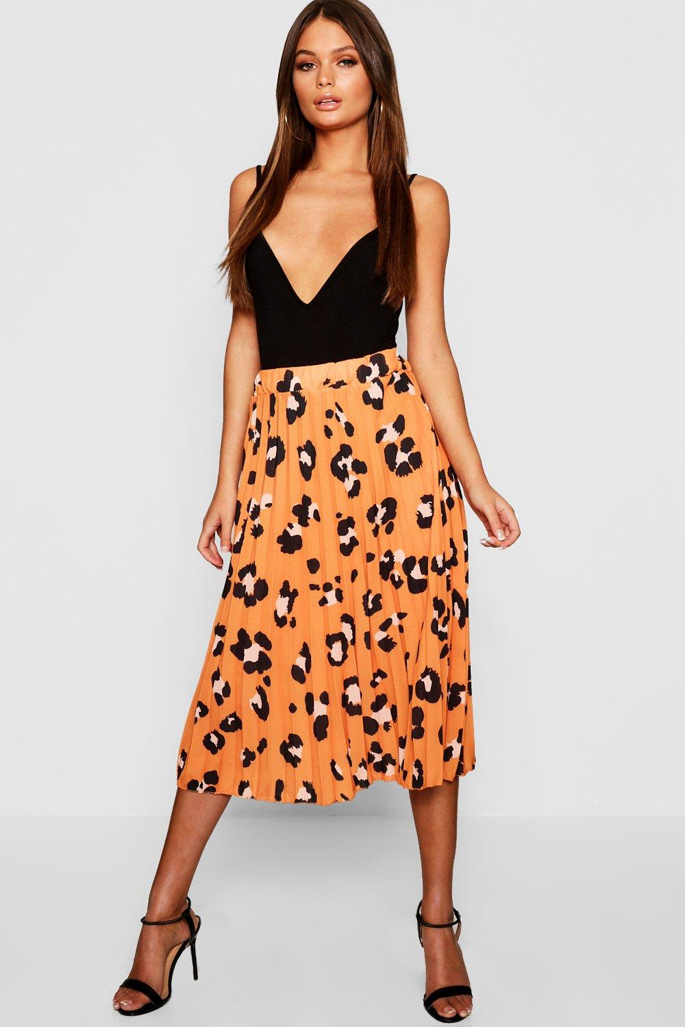uk store outlet for sale arriving Pleated Leopard Print Midi Skirt   Boohoo