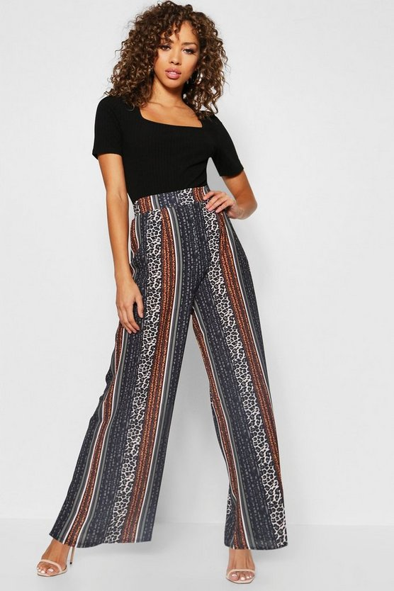 Womens Black Leopard Stripe Wide Leg Pants