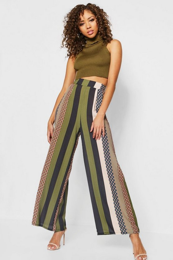 Bohemian Print Wide Leg Trousers
