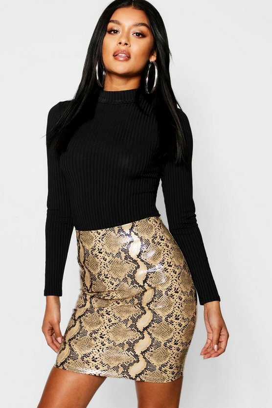 Snake Print Leather Look PU Mini Skirt