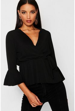 Womens Black Wrap Over Tie Blouse