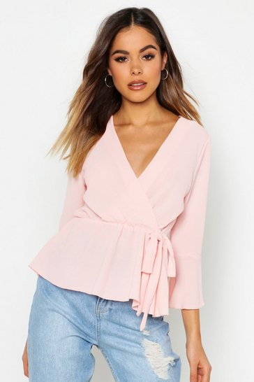 Womens Blush Wrap Over Tie Blouse