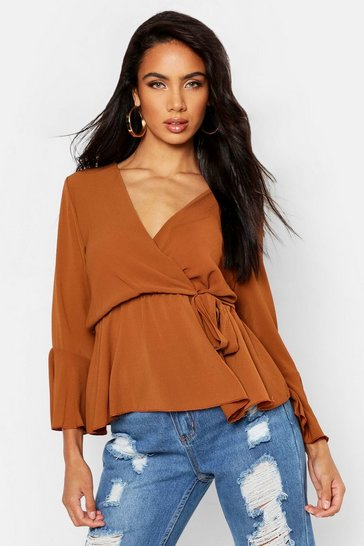 Womens Camel Wrap Over Tie Blouse