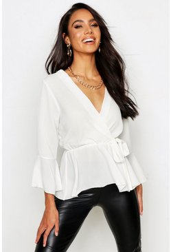 Womens Ivory Wrap Over Tie Blouse