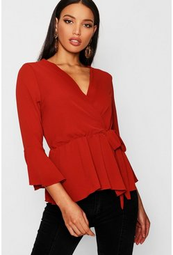 Womens Rust Wrap Over Tie Blouse