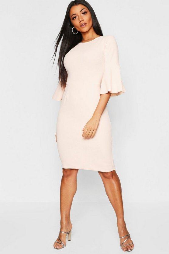 Angel Sleeve Crew Neck Midi Dress