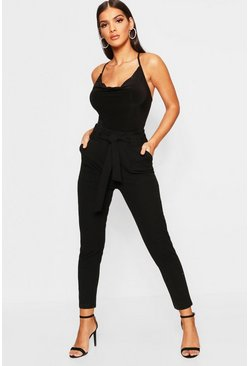 Womens Black Paperbag Waist Pants
