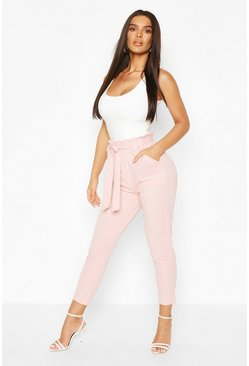 Blush Paperbag Waist Trouser