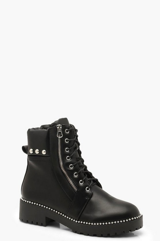Studded Zip And Lace Up Hiker Boots