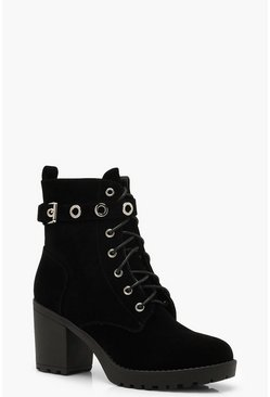 Womens Black Lace Up Hiker Boots With Eyelets
