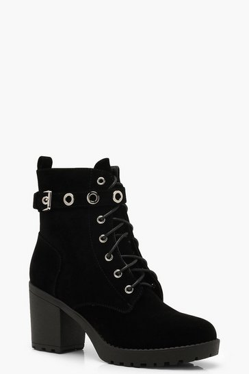 Black Lace Up Hiker Boots With Eyelets