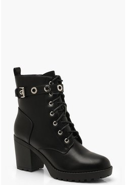 Black Chunky Lace Up Hiker Boots With Eyelets