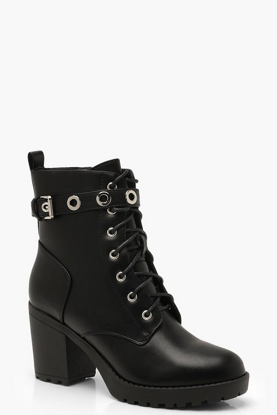 Womens Black Chunky Lace Up Hiker Boots With Eyelets