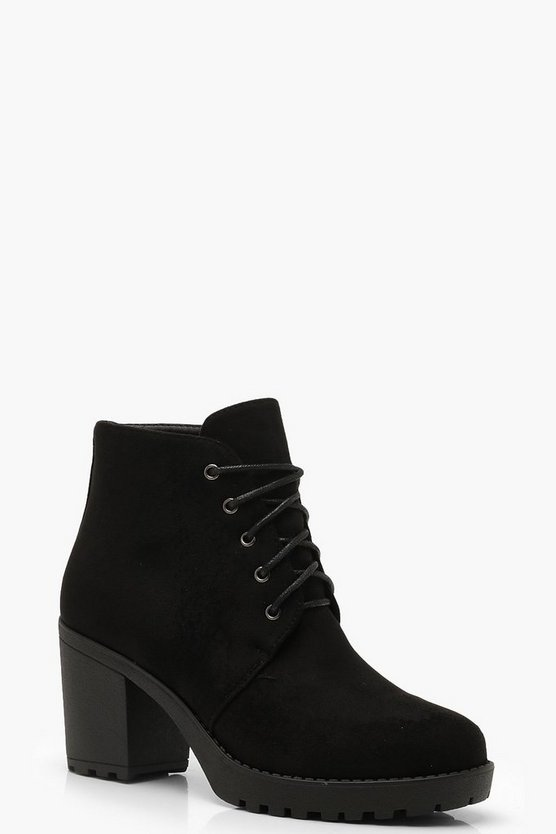 Womens Black Lace Up Chunky Heel Hiker Boots