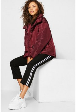 Womens Maroon Funnel Wrap Neck Puffer Jacket