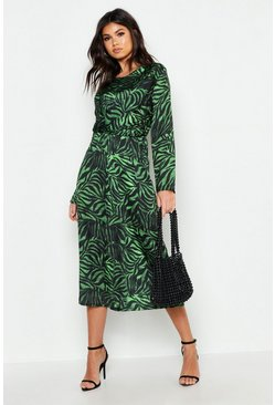 Green Satin Zebra Twist Front Midi Dress