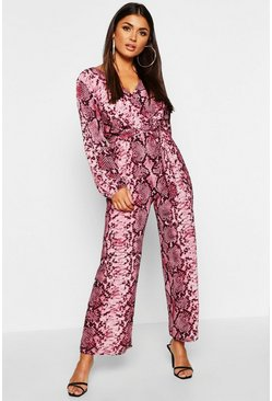 Womens Pink Snake Print Wrap Belted Jumpsuit