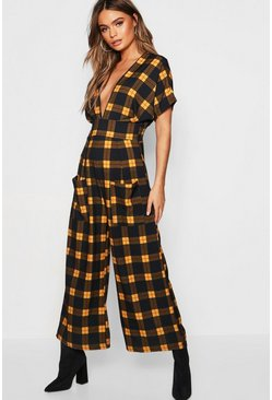 Womens Blue Check Batwing Culotte Jumpsuit