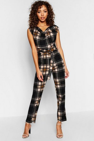 Womens Mustard Cowl Belted Tartan Check Jumpsuit
