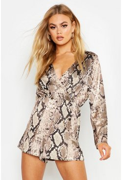 Womens Tan Satin Snake Button Wrap Playsuit