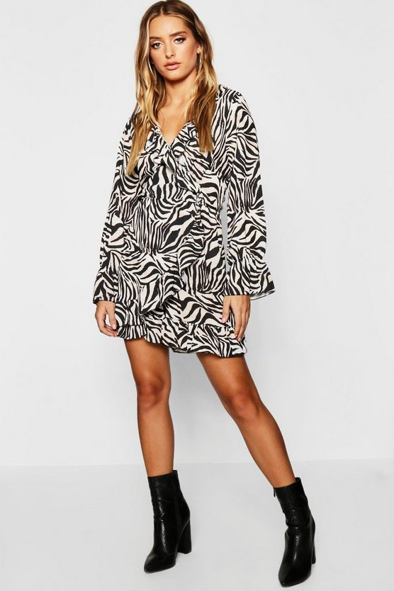 Womens Natural Zebra Ruffle Wrap Skort Playsuit