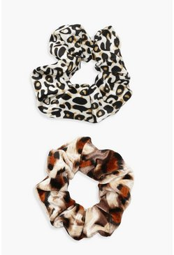 Womens Multi Mixed Animal Print 2 Pack Scrunchie