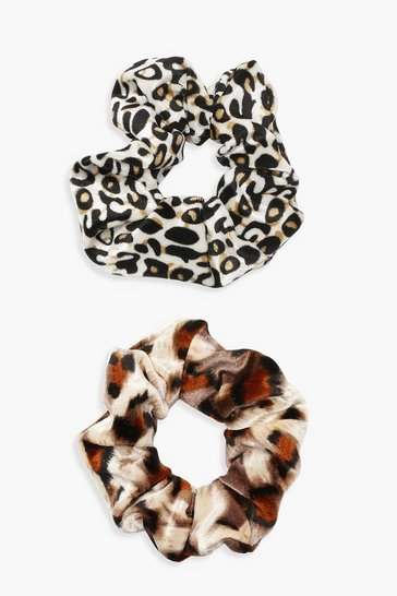 Multi Mixed Animal Print 2 Pack Scrunchie