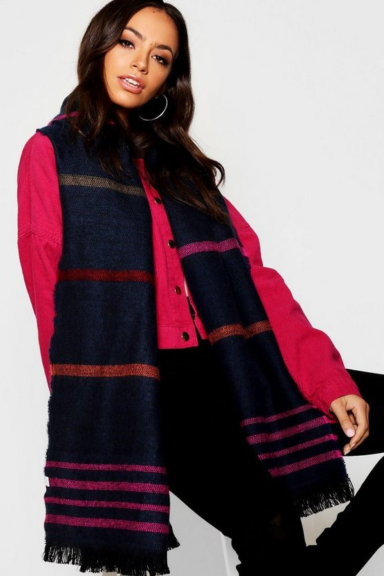 Womens Navy Coloured Stripe Woven Scarf
