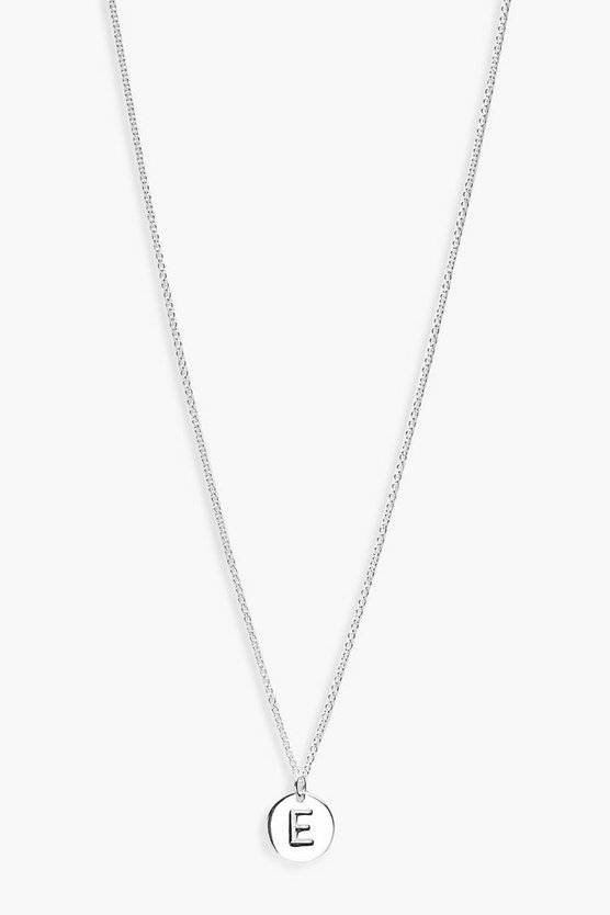 Sterling Silver E Initial Pendant Necklace