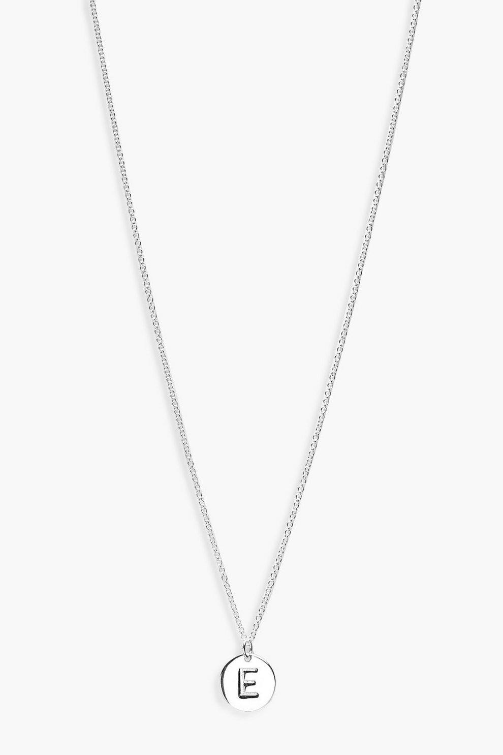 e1d565577 Sterling Silver E Initial Pendant Necklace | Boohoo