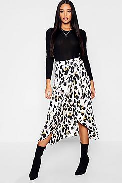 Leopard Print Satin Wrap Midaxi Skirt