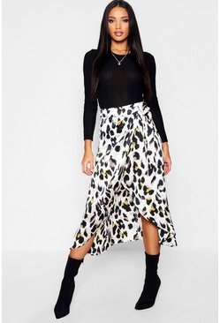 Womens Grey Leopard Print Satin Wrap Midaxi Skirt