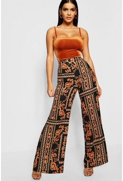 Womens Black Chain Print Wide Leg Trousers
