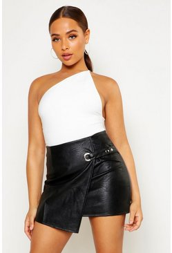 Black Wrap Front Detail Leather Look Mini Skirt