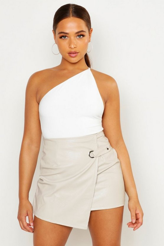 Wrap Front Detail Leather Look Mini Skirt
