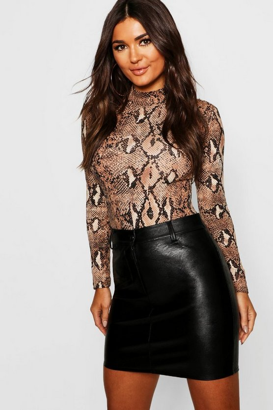 Womens Black Leather Look Mini Skirt