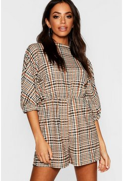 Womens Brown Check Balloon Sleeve Playsuit
