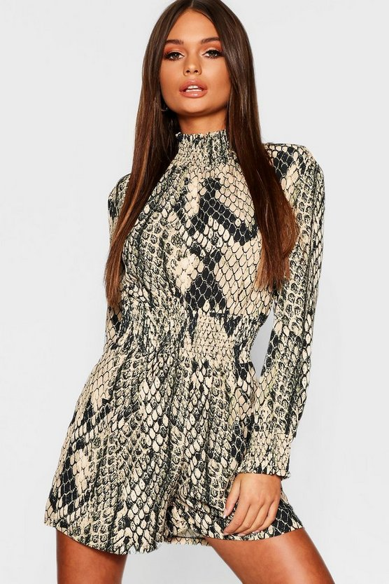 Womens Camel Snake Print Turtle Neck Playsuit