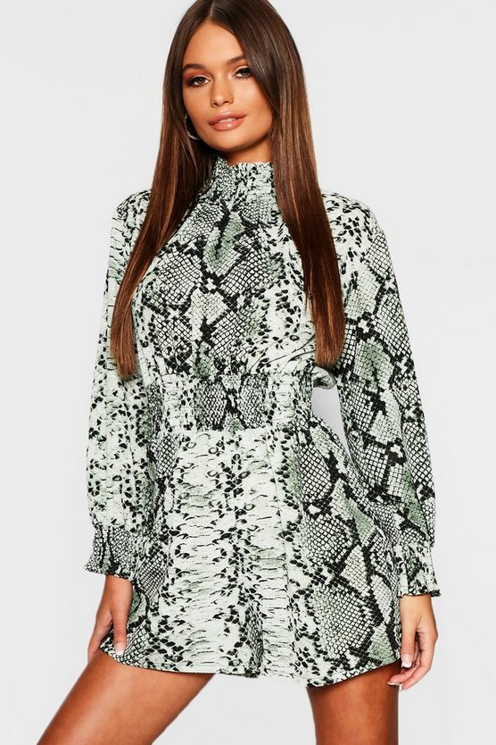 Womens Green Snake Print Turtle Neck Playsuit