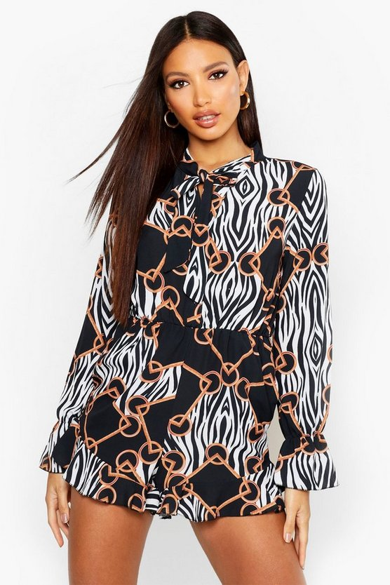 Black Zebra Chain Print Playsuit